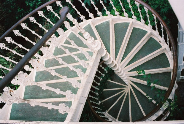 A whitewashed spiral staircase