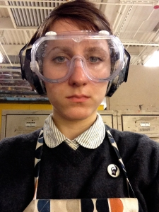 Young woman wearing goggles
