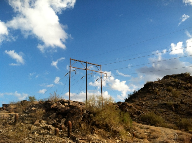 Telegraph pole and wires atop South Mountain, Phoenix, Arizona