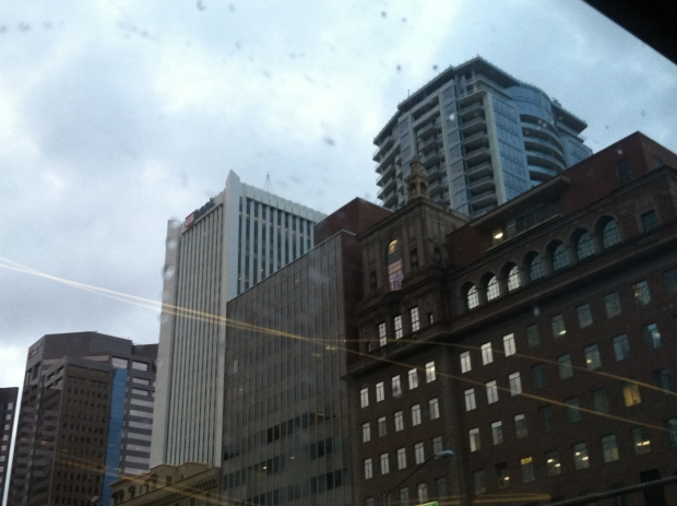 High-rise buildings in the rain