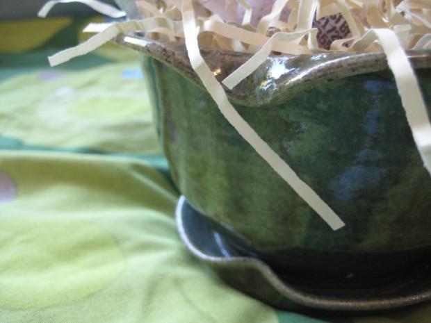 Green stoneware flowerpot