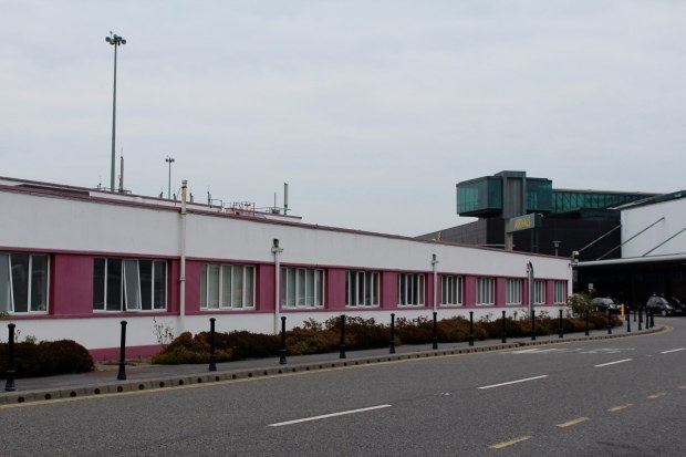 Purple and white painted building outside Shannon Airport, Ireland
