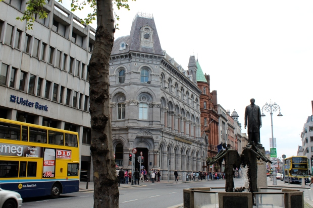 Buildings and a fountain in Dublin, Ireland.