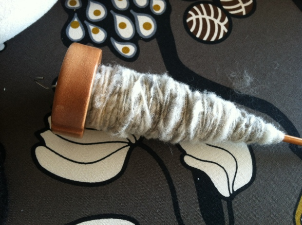 Sheep and cat hair yarn on a drop spindle.