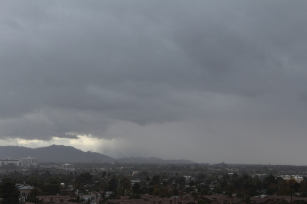 Low clouds over mountains in Phoenix, AZ