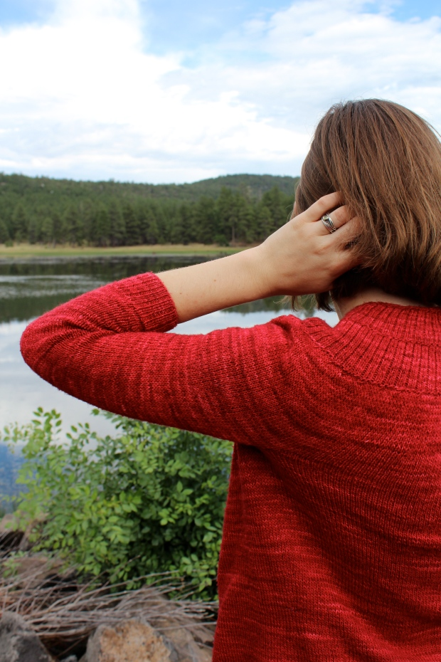 Girl wearing a red sweater