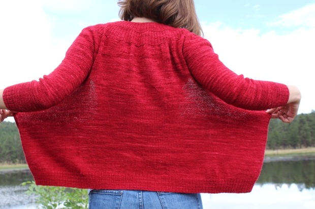 Back of a red sweater.