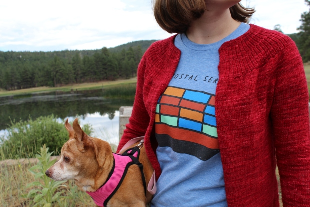 Girl in a red sweater holding a dog