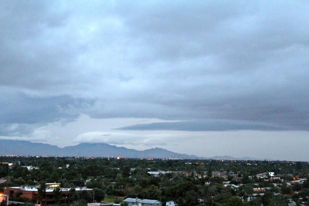 Dark clouds above mountains
