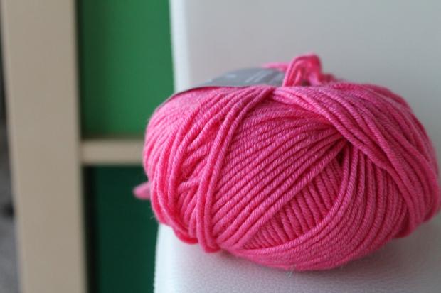 Skein of bright pink yarn