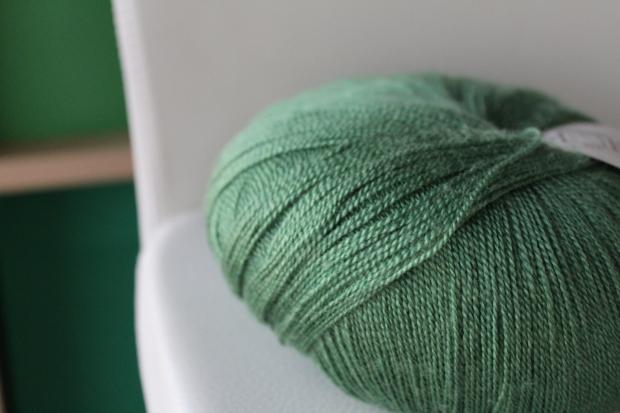 Skein of fine green yarn