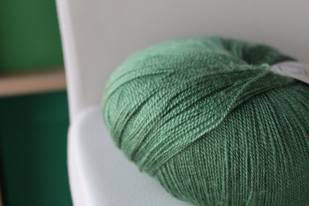 Skein of fine green yarn