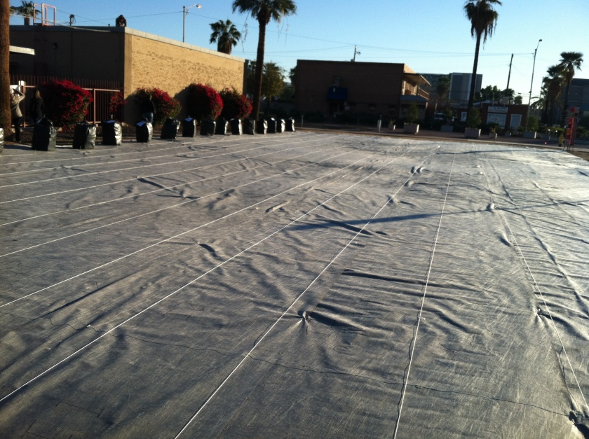 Landscaping cloth at installation site