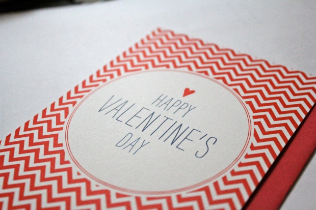 Zig-zag striped Valentine's Day card