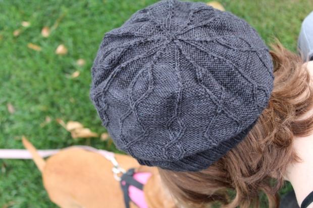 Girl wearing a black beret