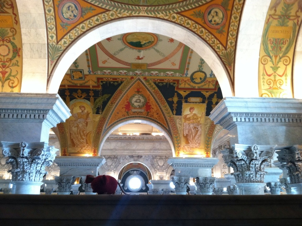 Mousie under the mosaic ceiling at the Library of Congress