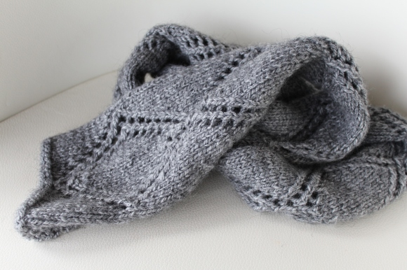 Gray scarf with a lace pattern