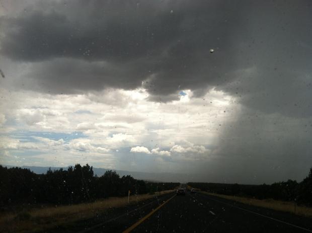 Curtain of rain half-covering the sky