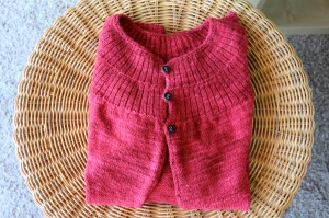 Red cardigan with black buttons