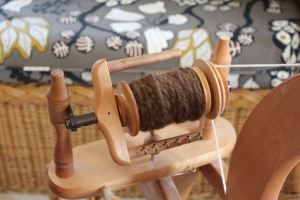Handspun yarn on a spool