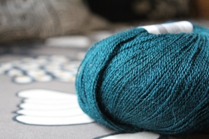 Skein of teal yarn