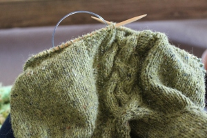 green cabled knitting