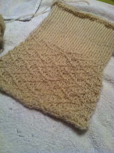 Midtown sweater swatch in natural cream Romney yarn