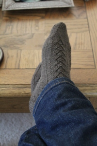 Finished Katherine Hepburn Fancy Trouser Socks in brown