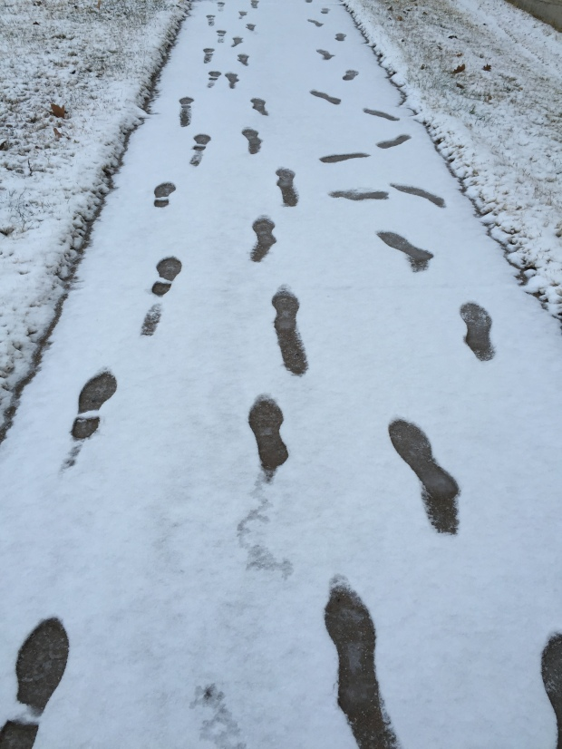 Footsteps in fresh snow