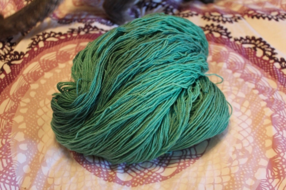 Turquoise yarn from Th'Red Head