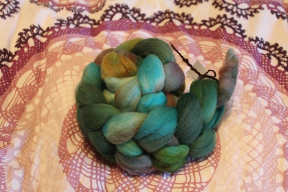 Green, blue, and gray roving from Topeka Twister