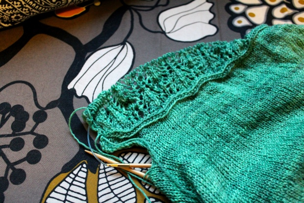 Knitted Waterlily Tee in progress