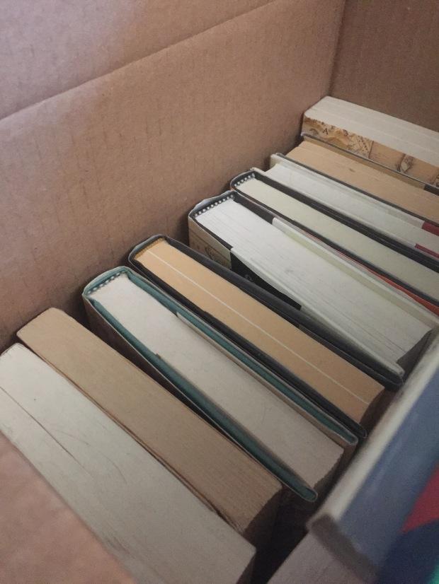 Books in a cardboard box