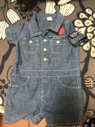 Chambray baby coverall with Ripley and Weyland Corporation patches