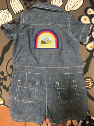 Chambray baby coverall with Nostromo patch