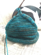 Little Sprout Baby Hat knit in Yarns of Rhichard Devreize Peppino in the variegated teal colorway Farther