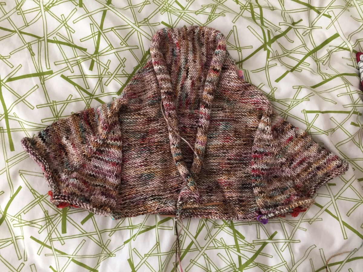 Miss Suzanne cardigan in progress in DK weight Less Traveled Yarn