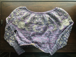 Purple and silver Red Moon Sweater in progress