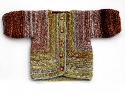 Image of a Baby Surprise Jacket knitted out of handspun yarn, image copyright Adrian Bizilia