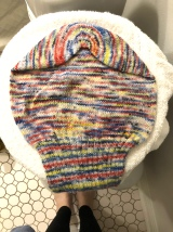 Sockhead Slouch hat blocking on a hamper