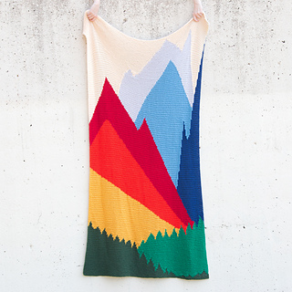 Picture of the Intarsia Mountain blanket by Heidi Gustad of Hands Occupied, image copyright Heidi Gustad