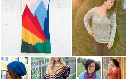 Portion of montage of pattern photos for Allison's #stashdown2020 challenge, including a blanket, sweaters, a hat, and a cowl, images copyright their respective creators